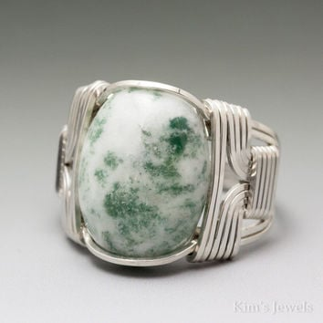 Tree Agate Cabochon Sterling Silver Wire Wrapped Ring