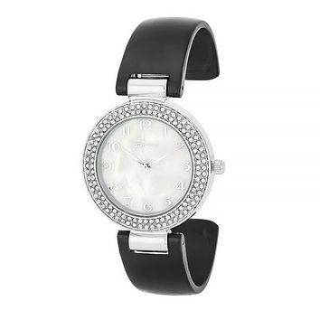 Lucia Black Crystal Silver Cuff Watch
