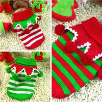Cute Pet Christmas Sweater Stripe Design Dog Clothes Puppy Sweater Fashion Clothing for Dogs & Cats three color 5 size