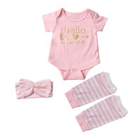 Baby Girl 3 Pc Outfit Includes Onsie, Striped Leg Warmers and Headband Size 3 -18 Months