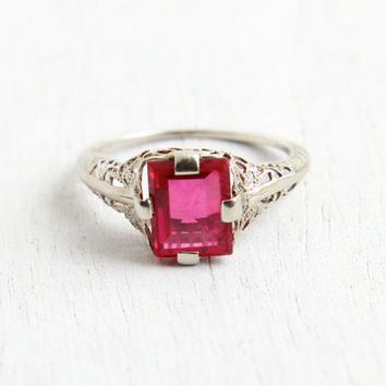 Antique 10k White Gold Ruby Ring - Size 5 Vintage Filigree Art Deco 1930s Pink Created Stone Fine Jewelry