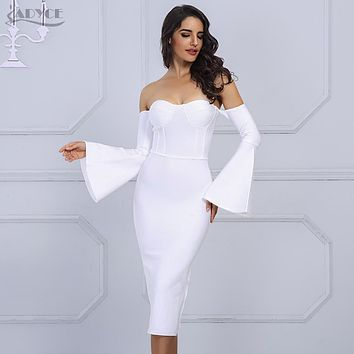 Adyce 2018 New Women Bandage Dress Elegant Celebrity Evening Party Dress Sexy Flare Sleeve White Black Midi Dresses Vestidos