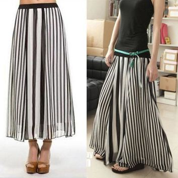 Women Girl Black/white Stripe Summer Chiffon Maxi Long Full Skirt Elastic Waist 13981 (size: L Color: Black White)