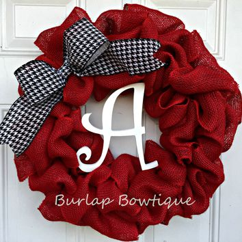 Burlap Wreath / Initial Burlap Wreath / Alabama Burlap Wreath / Door Decor / Home Decor