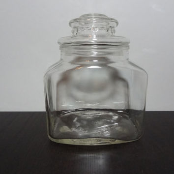 Vintage Hazel Atlas Rectangular Clear Glass Jar/Canister
