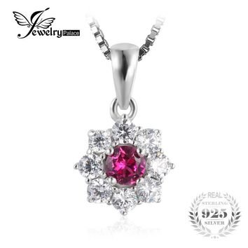 JewelryPalace Flower 0.82ct Created Ruby Halo Pendant Necklace Real 925 Sterling Silver Women's Fine Jewlery Not Include A Chain