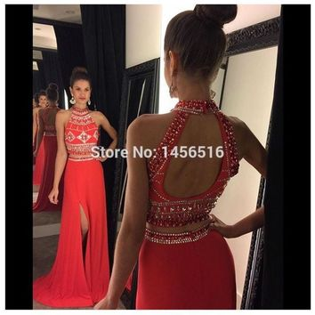 123013W Vestidos de fiesta Fashion High Neck Floor Length Crystal Beaded Split Evening Dresses Red 2017 Two pieces Prom Dresses