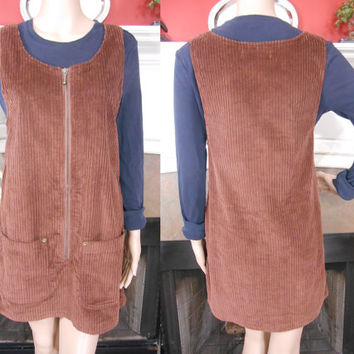 90s, Bonnie Evans, Cotton, Brown, Corduroy, Sleeveless, Front Zippered, Scoop Neckline, Mini, Jumper With 2 Front Pockets, Size Medium, Fall