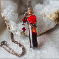 "Vampire Diaries Katherine's Cure Vial Necklace Red Roses Blood charm skull vintage style filigree copper 26"" chain Swarovski crystal Elena"