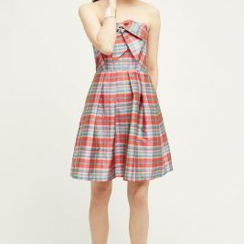 Eva Franco Ribboned Plaid Dress in Pink Size: