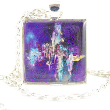 Purple Abstract Necklace, Space Jewelry, Abstract Painting, Turquoise Necklace, Birthday Gift, Everyday Jewelry, Space Age Pendant