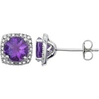 Sterling Silver Amethyst & .015 CTW Diamond Halo-Style Earrings