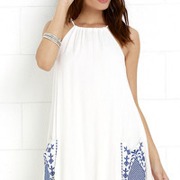 Wooded Hills Ivory Embroidered Swing Dress
