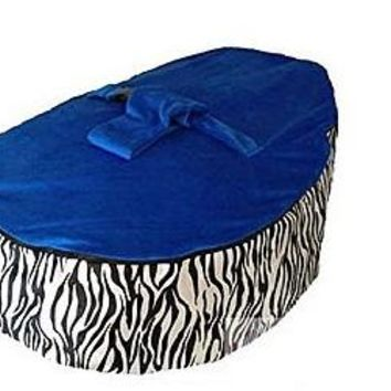 Babybooper Beanbag Soft Baby Cozy Baby Sitting Chair Nursery Pillow Safe (Booper Blue Top Zebra)