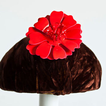 Vintage Red Flower Brooch, Large Plastic and Metal Tropical Flower Pin, Hippie 1960s Mod Costume Jewelry