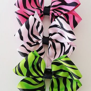 Zebra Hair bow, Pinwheel Hair bow, Toddler Girl Hairbow, Grosgrain Ribbon Bow, Baby Hairbow, Ponytail bow, Hair bows for girls- Set of 5