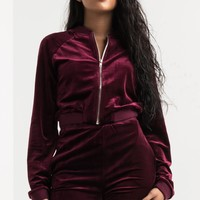 AKIRA Velour Cropped Zip Up Track Jacket in Burgundy