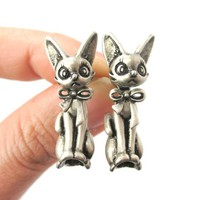 3D Realistic Cat Shaped Two Part Stud Drop Earrings in Silver from DOTOLY