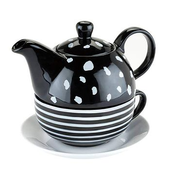 Addison Tea for One Set in Gift Box | Black and White Dot
