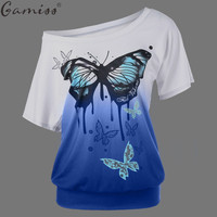Gamiss NEW Arrivals Plus size Summer Style Butterfly Print Ombre T-Shirt 2017 Women Tops Tshirt Female Short Sleeve Top Tee