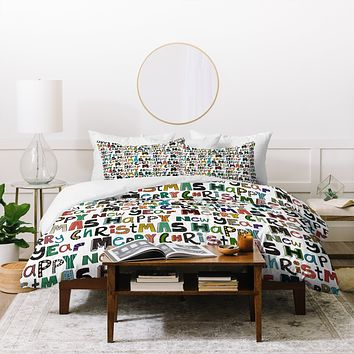 Sharon Turner merry christmas happy new year Duvet Cover