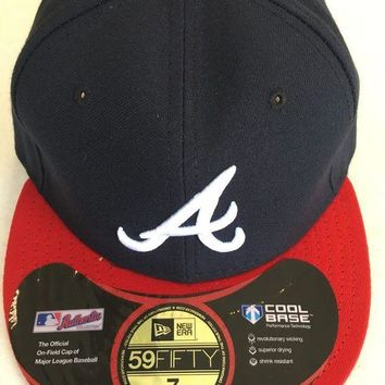 ICIKIHN ATLANTA BRAVES MLB NEW ERA 5950 NAVY WHITE 'A' RED BRIM BLACK UNDER FITTED HAT