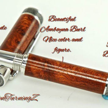 Custom Wooden Pen Fountain Beautiful Highly Figured Amboyna Burl Rhodium and Black Titanium 735FPXLA