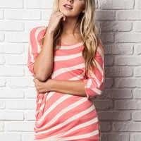 Coral and Cream Stripe Knit Assymetrical Top