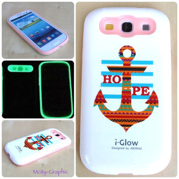 USA Custom Samsung S3 IGlow Case Anchor HOPE aztec tribal Graphic Design Cover for Galaxy S3 i9300  Choose Color