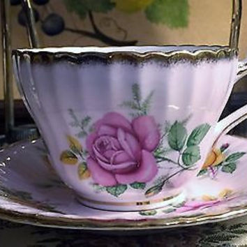 c1957 Rare Pink Paragon English Fine Bone China Teacup & Saucer by Her Majesty