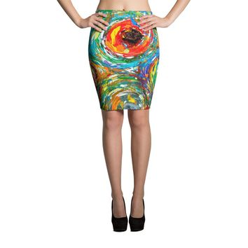 Galaxies of Colors Pencil Skirt