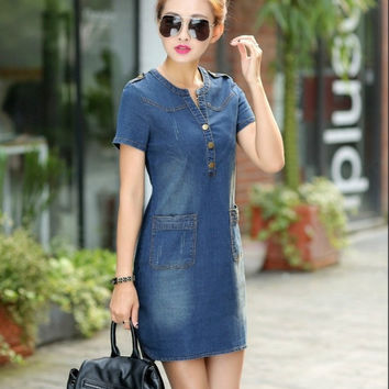 Summer 2016 Korean denim female dress with short sleeves loose large size v-neck thin  dress for women plus size 176A 45
