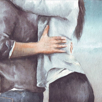 HM058 Original watercolor Embrace painting by Helga Mcleod