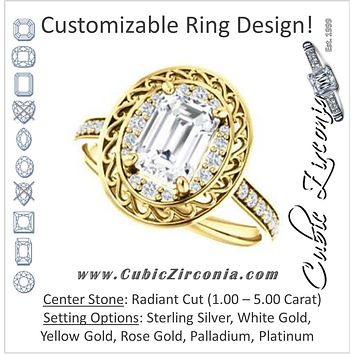 Cubic Zirconia Engagement Ring- The Ariané Contessa (Customizable Cathedral-style Radiant Cut featuring Cluster Accented Filigree Setting & Pavé Band)