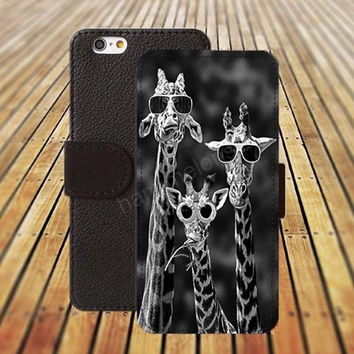 giraffe with glasses iphone 5/ 5s iphone 4/ 4s iPhone 6 6 Plus iphone 5C Wallet Case , iPhone 5 Case, Cover, Cases colorful pattern L041