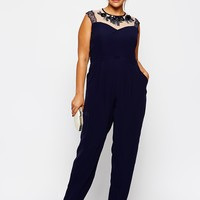 Little Mistress Embellished Mesh Insert Jumpsuit