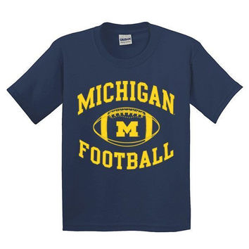 Michigan Football YTH Tee - Navy