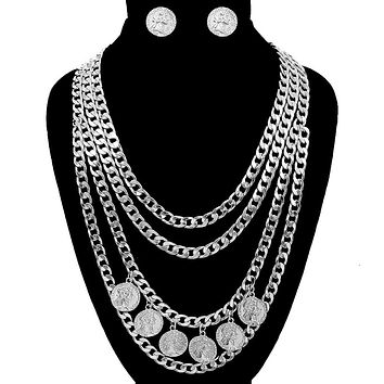 Coin Layered Chain Necklace Set