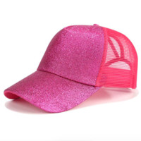 Glitter Snapback Cap with Ponytail Opening