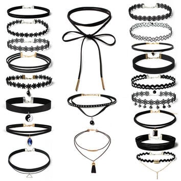 20PCS Shiny Jewelry Gift Stylish Lace and Velet Chocher Innovative Accessory Chain Lace Necklace Set [10681942159]