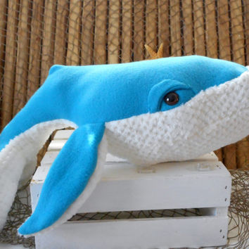 Humpback whale, whale plushie, whale toy, handmade  whale, child's toy, ocean life, big whale softie, stuffed whale