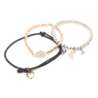 With Love From CA Beaded Moon Charm Bracelet at PacSun.com