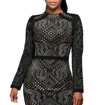 ONETOW Black Mini Jeweled Quilted Long Sleeves Dress