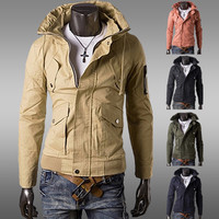 Military Style Fashion Men Zip Up Jacket