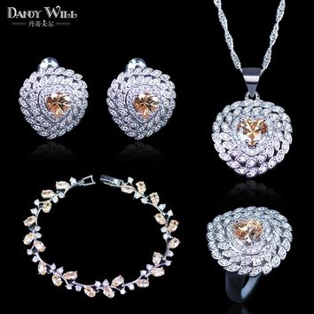 New Fashion Women Love Gift Champagne Cubic Zirconia Pendant Necklace And Earrings Silver Color 925 Mark Bracelets Jewelry Set
