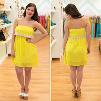 Yellow Crochet Trim Dress