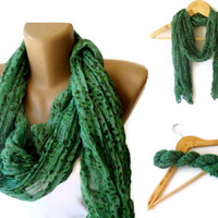 green wrinkled scarf , cotton fashion accessories, women  scarf trends , girly , floral print scarves
