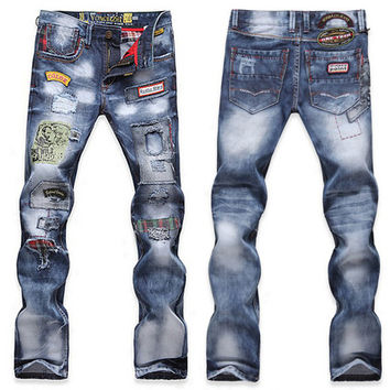 Designer Patch Slim Fit Bleached Denim Jeans