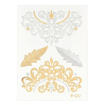 Gold and Silver Ornate Pattern Metallic Tattoo Sticker