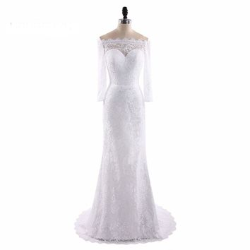 White Boat Neck Lace Mermaid Long Sleeves Long Wedding Dresses Bow Sashes Zipper Floor Length Wedding Gowns